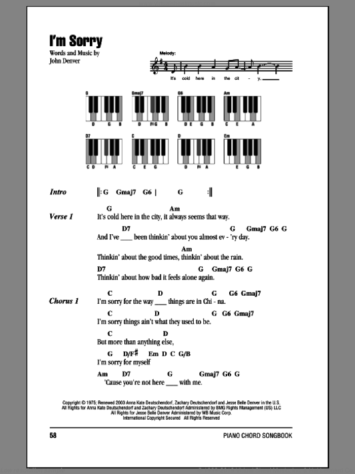 I'm Sorry sheet music for piano solo (chords, lyrics, melody) by John Denver. Score Image Preview.