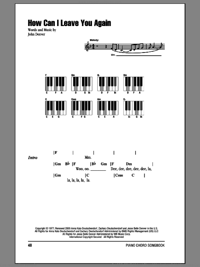 How Can I Leave You Again sheet music for piano solo (chords, lyrics, melody) by John Denver. Score Image Preview.