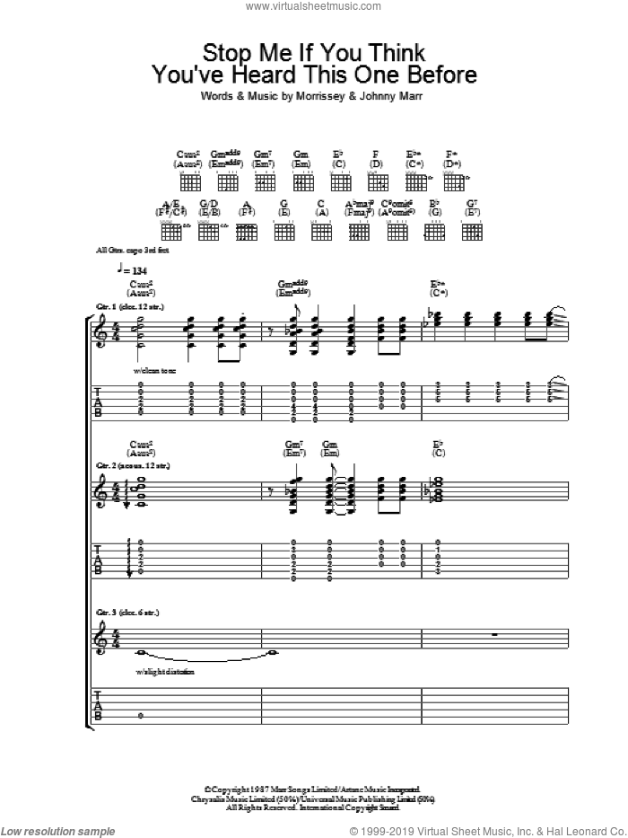 Stop Me If You Think You've Heard This One Before sheet music for guitar (tablature) by The Smiths, Johnny Marr and Steven Morrissey, intermediate. Score Image Preview.