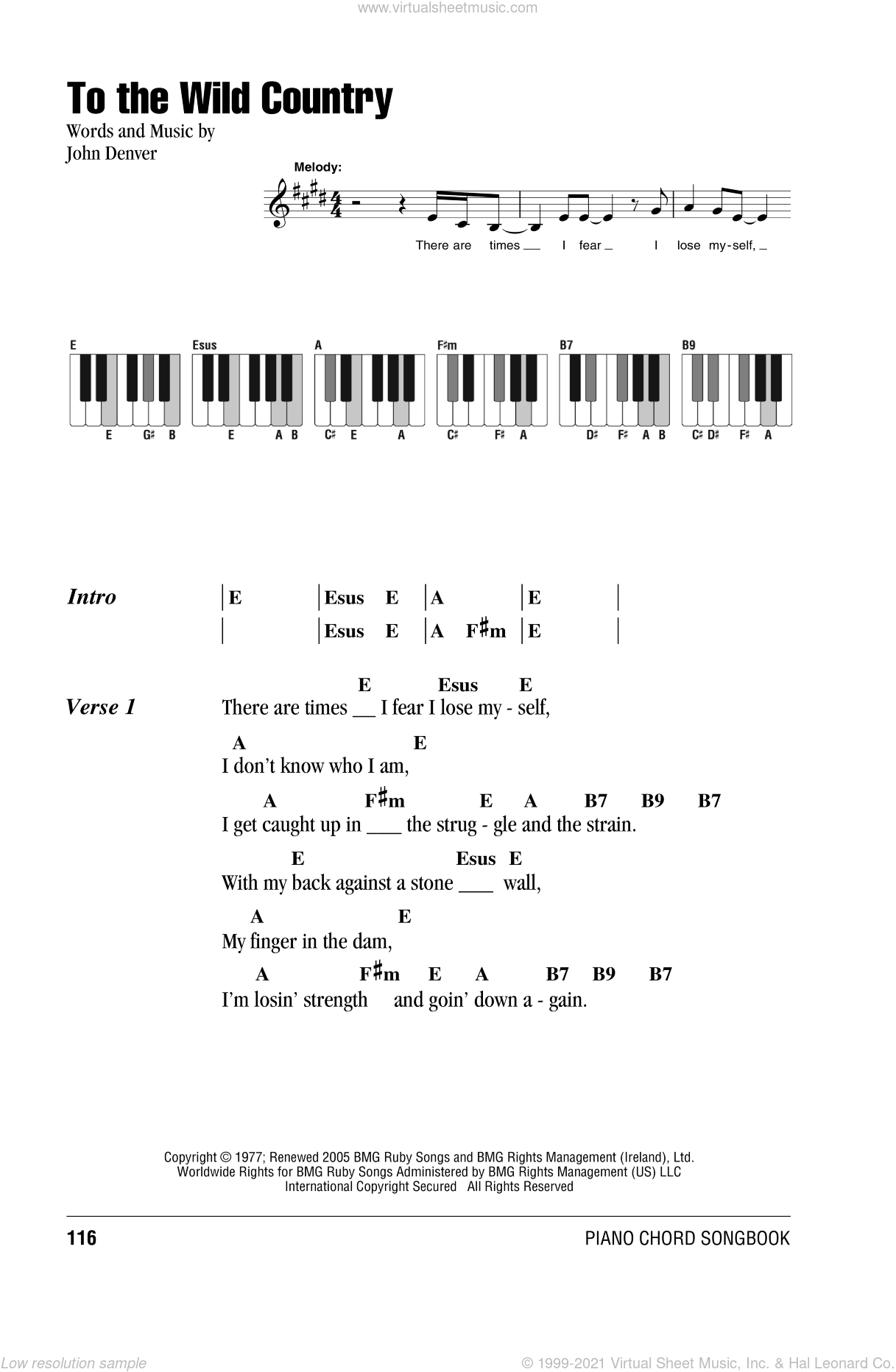 To The Wild Country sheet music for piano solo (chords, lyrics, melody) by John Denver, intermediate piano (chords, lyrics, melody)