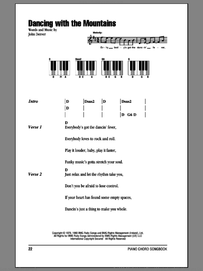 Dancing With The Mountains sheet music for piano solo (chords, lyrics, melody) by John Denver, intermediate piano (chords, lyrics, melody). Score Image Preview.