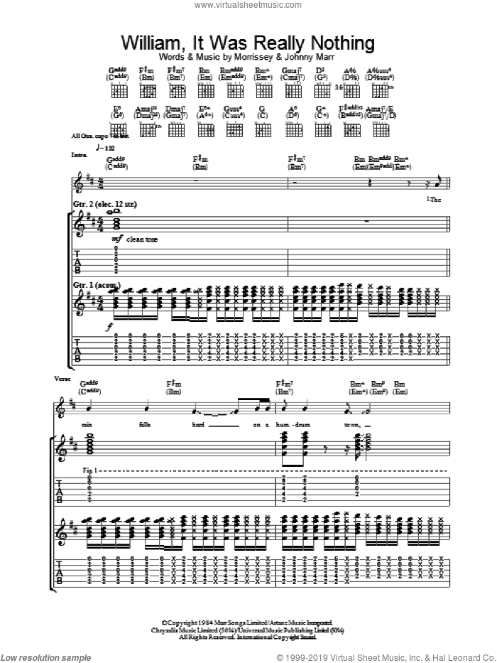 William, It Was Really Nothing sheet music for guitar (tablature) by Steven Morrissey, The Smiths and Johnny Marr. Score Image Preview.