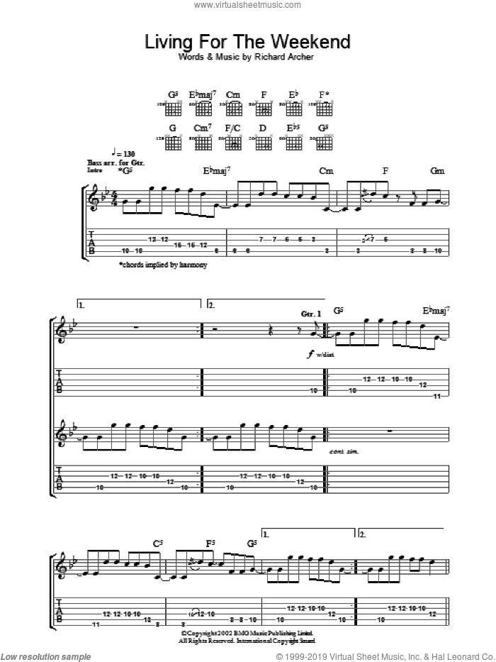 Living For The Weekend sheet music for guitar (tablature) by Richard Archer. Score Image Preview.