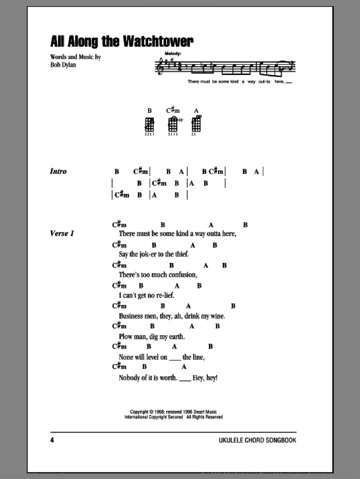 All Along The Watchtower sheet music for ukulele (chords) by Jimi Hendrix. Score Image Preview.