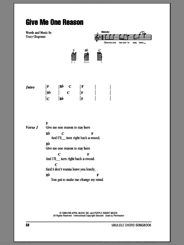 Give Me One Reason sheet music for ukulele (chords) by Tracy Chapman. Score Image Preview.