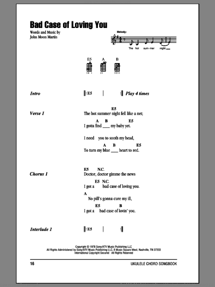 Bad Case Of Loving You sheet music for ukulele (chords) by John Moon Martin and Robert Palmer. Score Image Preview.