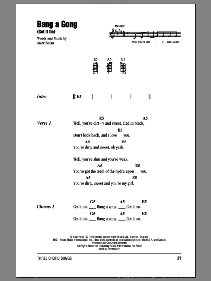 Rex Bang A Gong Get It On Sheet Music For Ukulele Chords