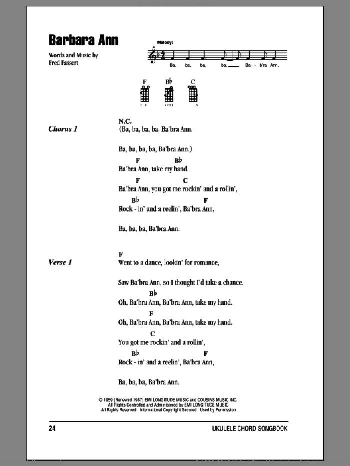 Barbara Ann sheet music for ukulele (chords) by The Beach Boys and Fred Fassert, intermediate. Score Image Preview.