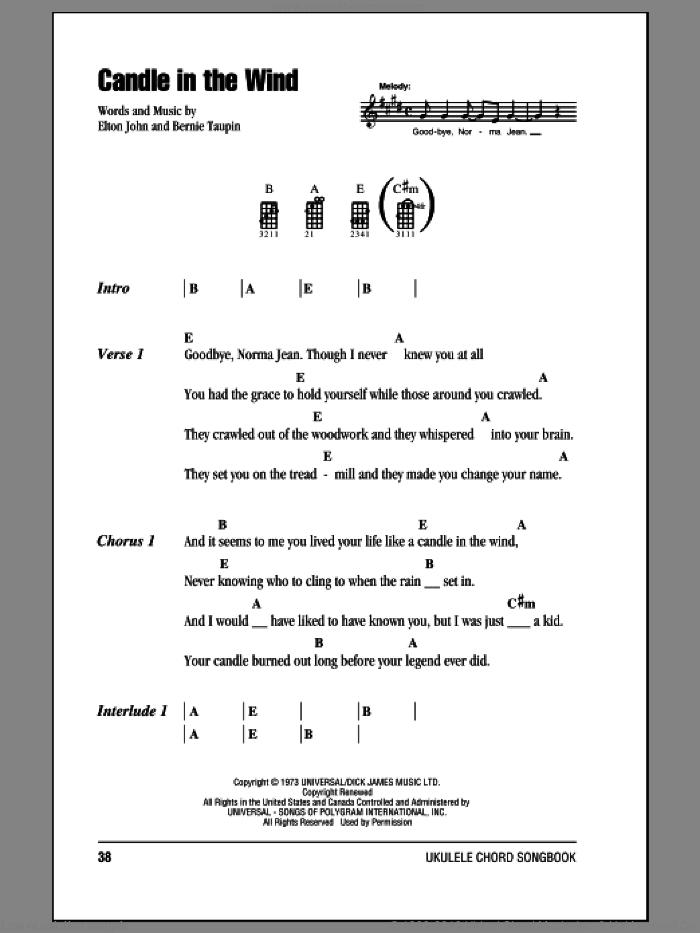 Candle In The Wind sheet music for ukulele (chords) by Elton John and Bernie Taupin, intermediate. Score Image Preview.