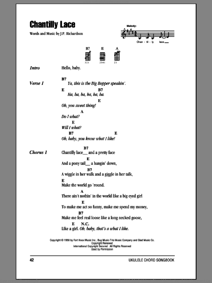 Chantilly Lace sheet music for ukulele (chords) by The Big Bopper, intermediate ukulele (chords). Score Image Preview.