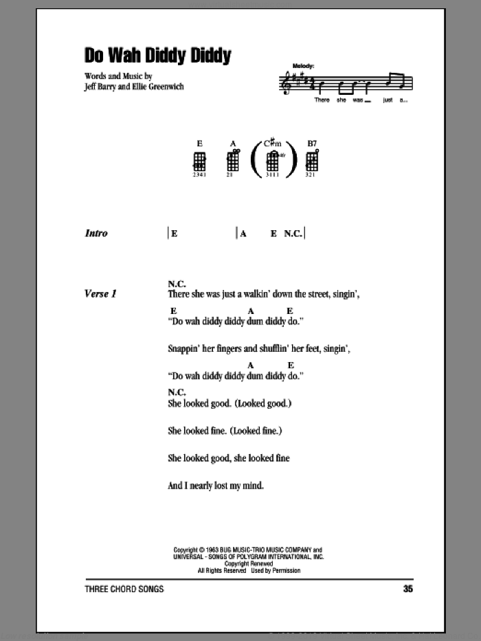 Do Wah Diddy Diddy sheet music for ukulele (chords) by Jeff Barry, Manfred Mann and Ellie Greenwich. Score Image Preview.