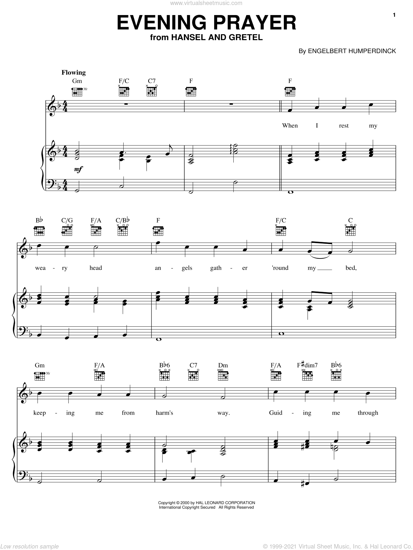 Evening Prayer sheet music for voice, piano or guitar by Engelbert Humperdinck, intermediate