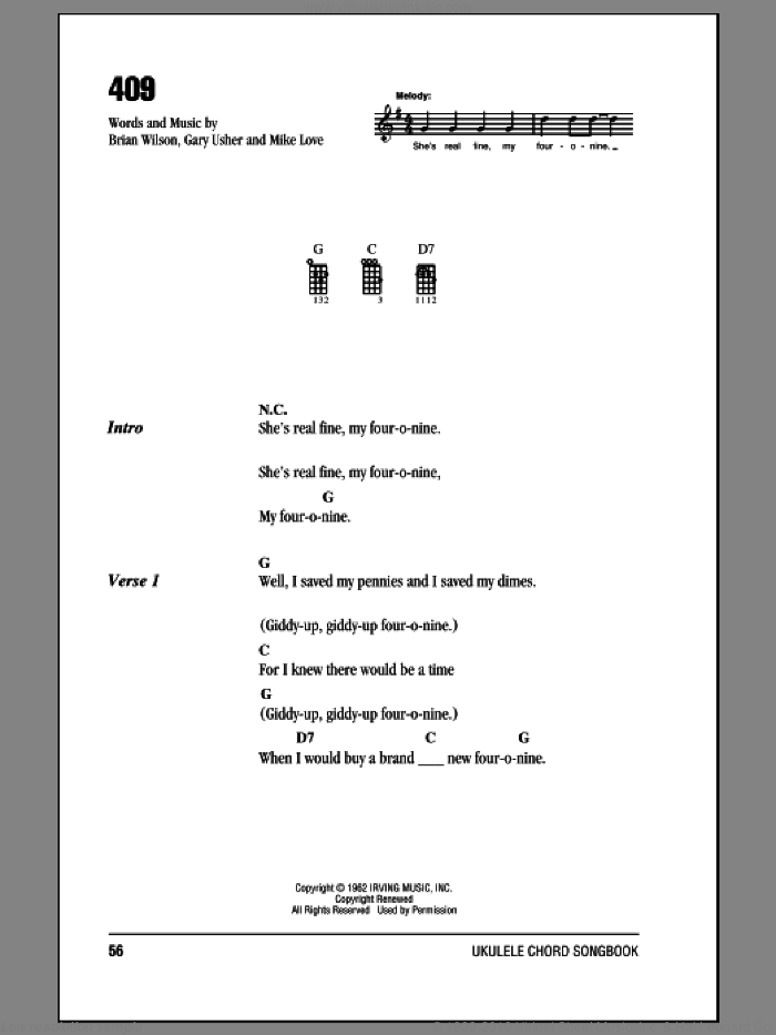409 sheet music for ukulele (chords) by The Beach Boys, Brian Wilson, Gary Usher and Mike Love, intermediate skill level