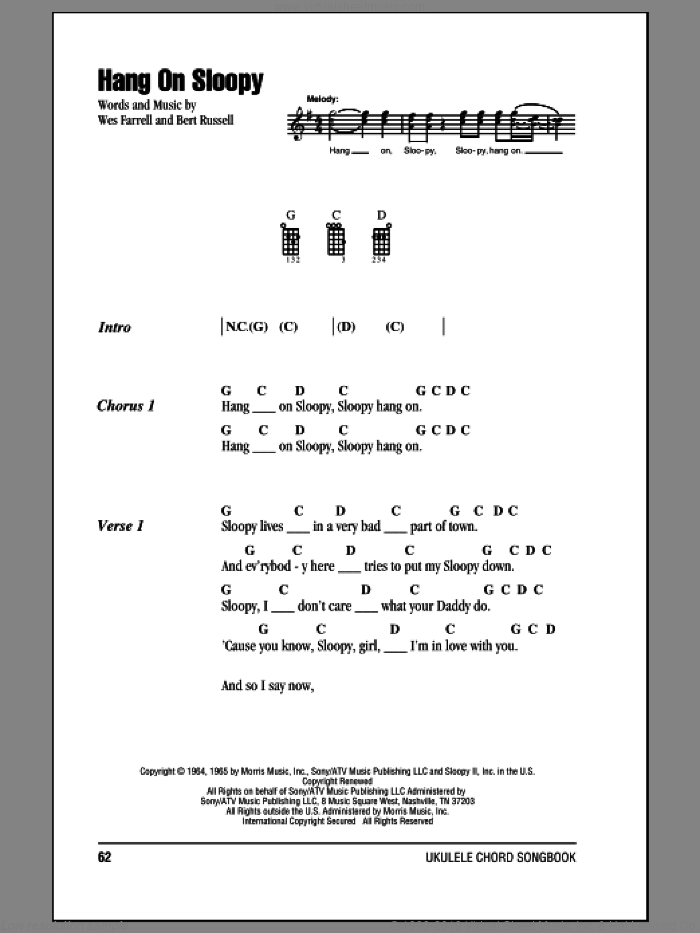 Hang On Sloopy sheet music for ukulele (chords) by The McCoys, Bert Russell and Wes Farrell, intermediate. Score Image Preview.