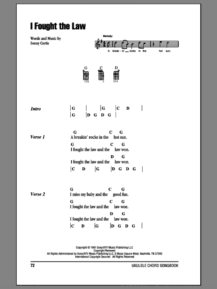 I Fought The Law sheet music for ukulele (chords) by Sonny Curtis. Score Image Preview.