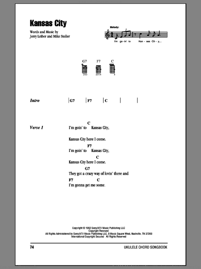 Kansas City sheet music for ukulele (chords) by Mike Stoller, Wilbert Harrison and Jerry Leiber. Score Image Preview.