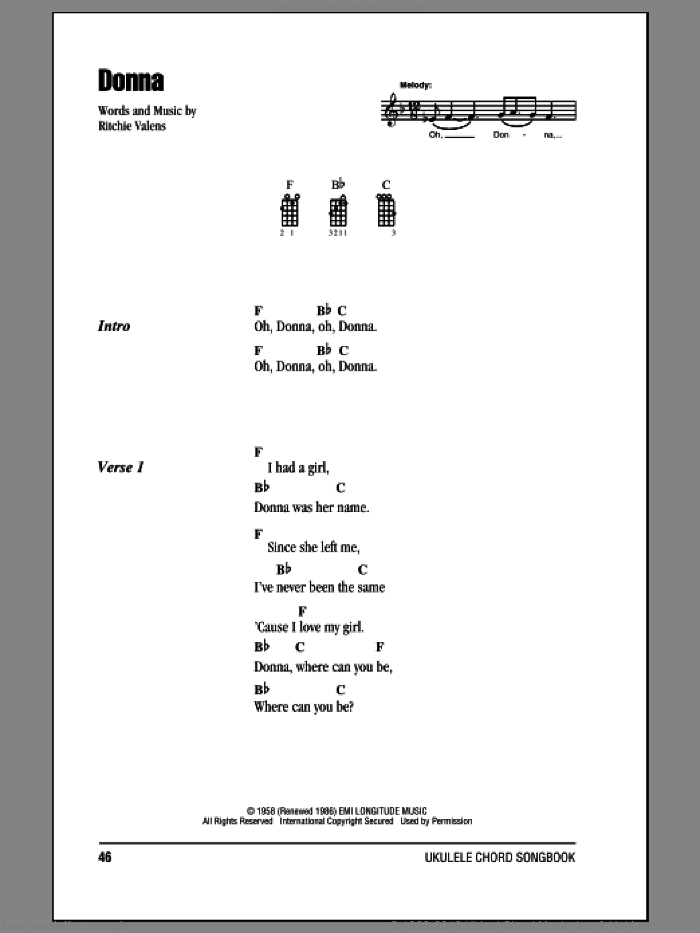 Donna sheet music for ukulele (chords) by Ritchie Valens. Score Image Preview.