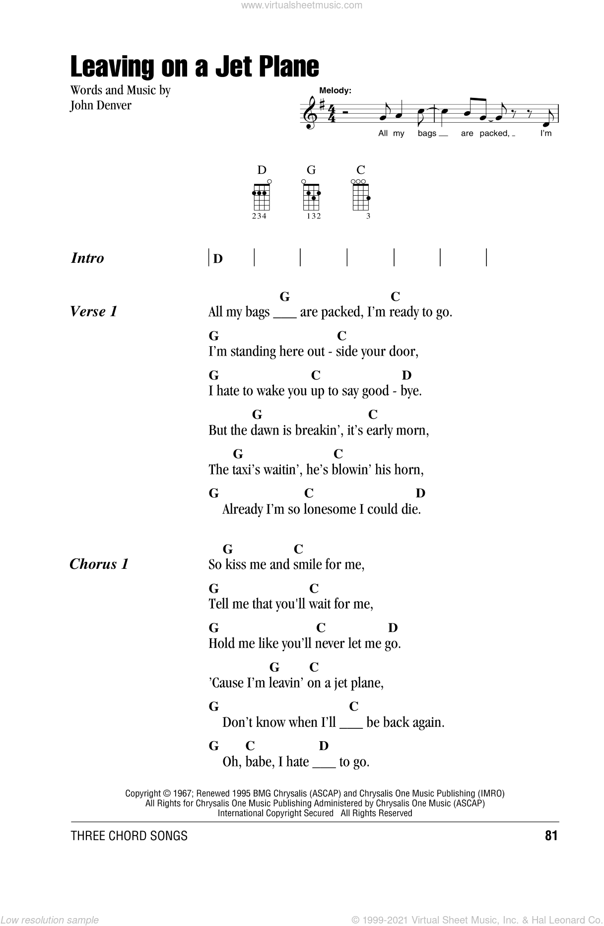 Leaving On A Jet Plane sheet music for ukulele (chords) by John Denver, intermediate skill level