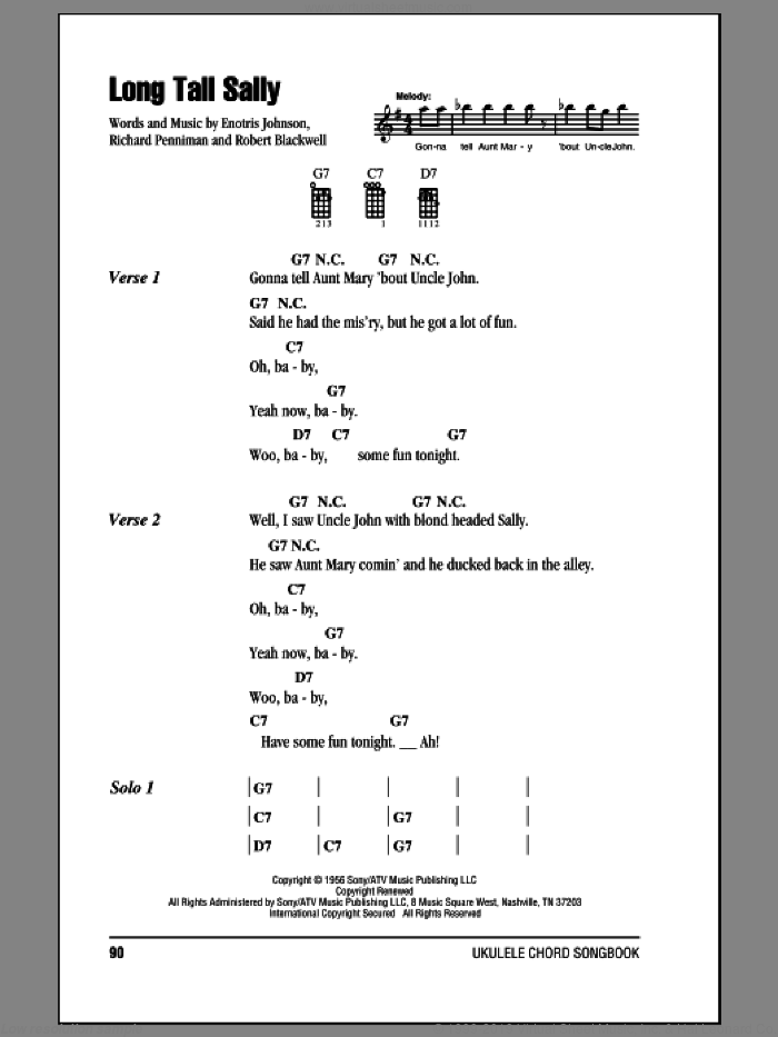 Long Tall Sally sheet music for ukulele (chords) by Robert Blackwell and Richard Penniman