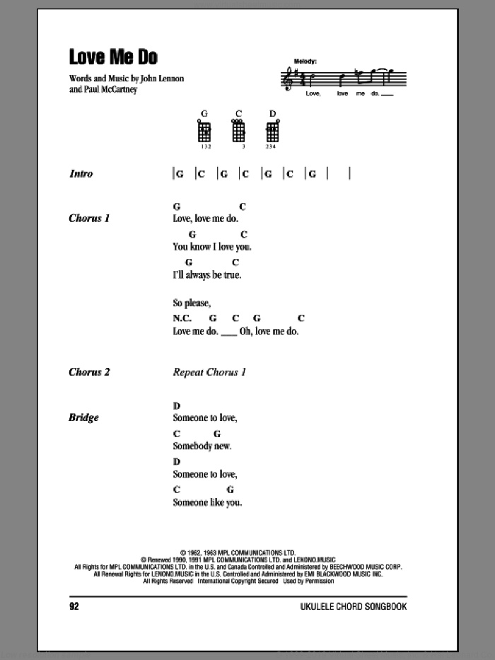 Love Me Do sheet music for ukulele (chords) by The Beatles, John Lennon and Paul McCartney. Score Image Preview.