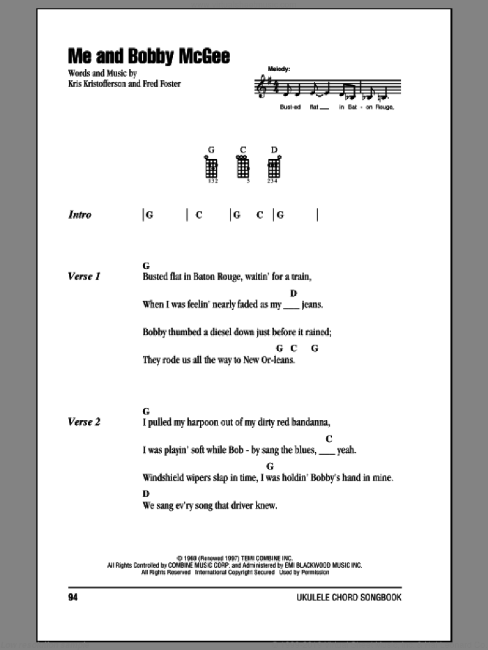 Me And Bobby McGee sheet music for ukulele (chords) by Fred Foster and Janis Joplin. Score Image Preview.
