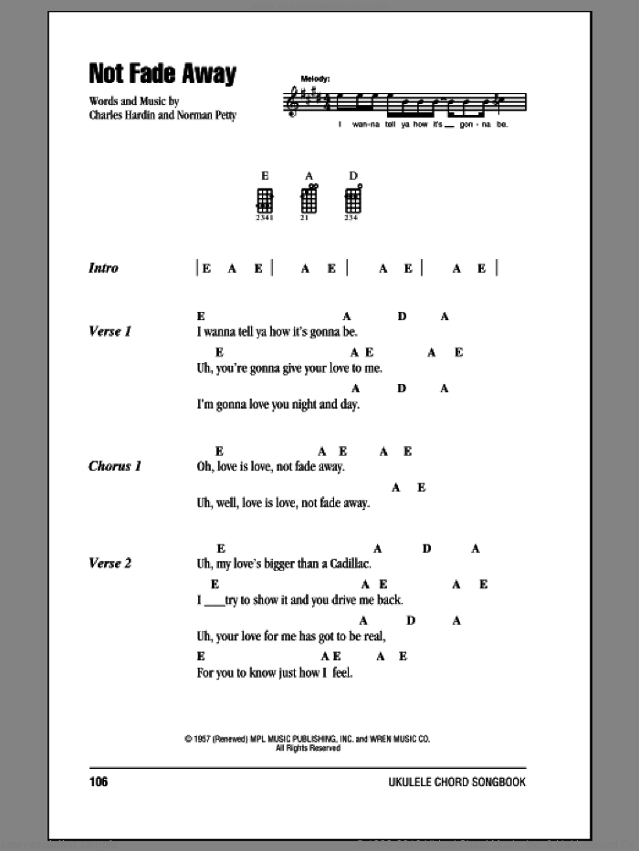 Not Fade Away sheet music for ukulele (chords) by The Rolling Stones, Charles Hardin and Norman Petty, intermediate skill level