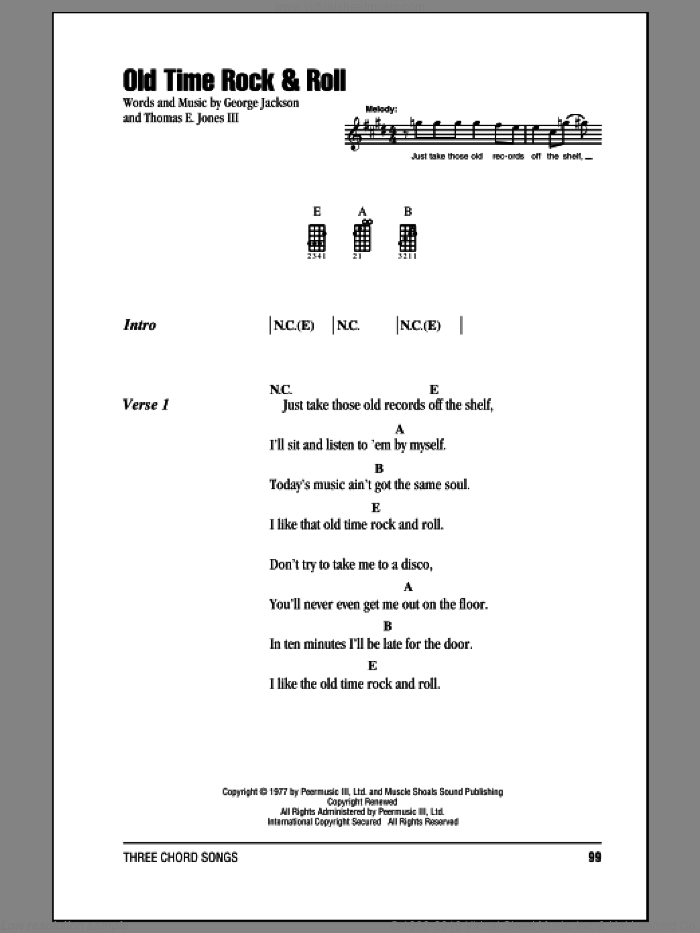 Old Time Rock and Roll sheet music for ukulele (chords) by Bob Seger, George Jackson and Tom Jones, intermediate skill level