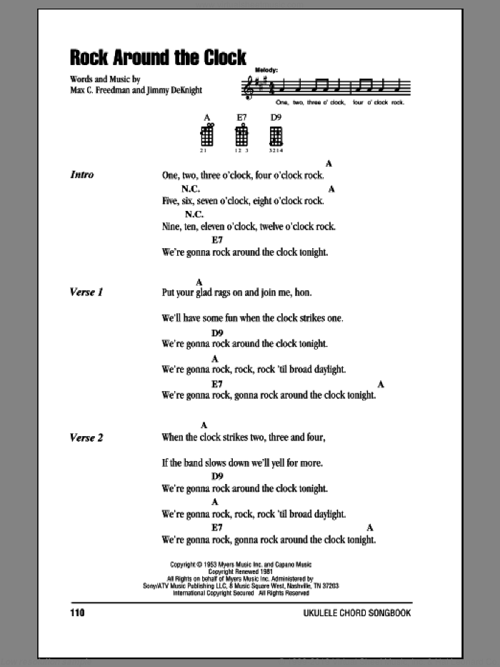 Rock Around The Clock sheet music for ukulele (chords) by Max C. Freedman and Bill Haley & His Comets