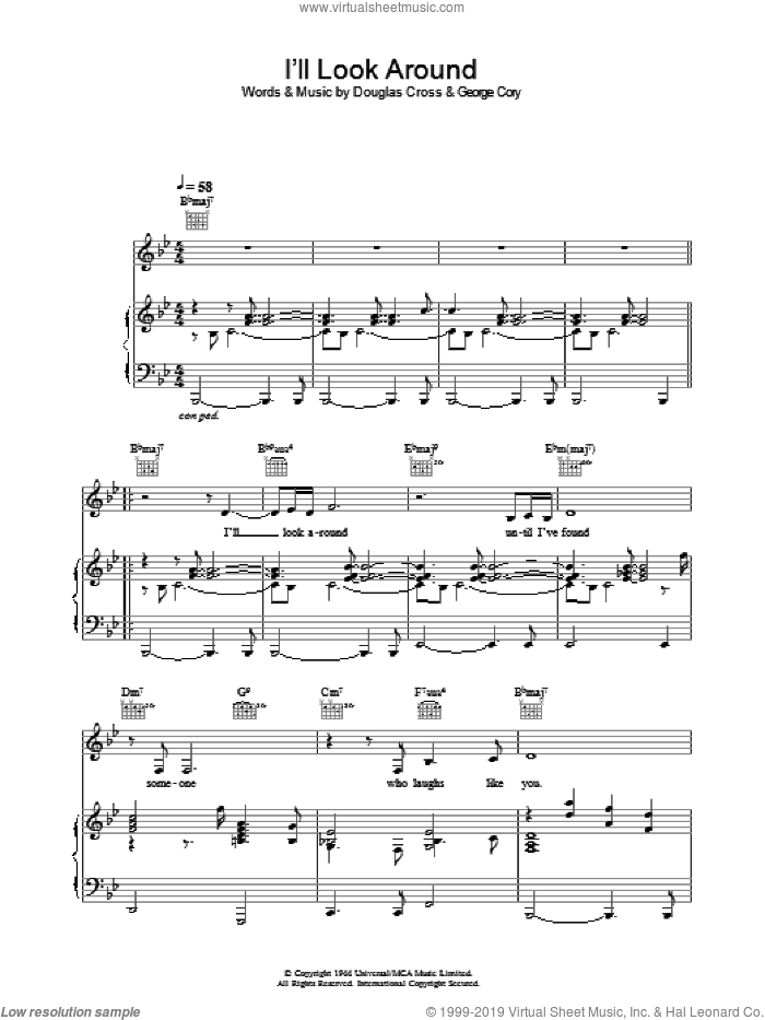 I'll Look Around sheet music for voice, piano or guitar by George Cory and Madeleine Peyroux