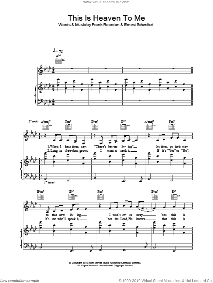 This Is Heaven To Me sheet music for voice, piano or guitar by Frank Reardon