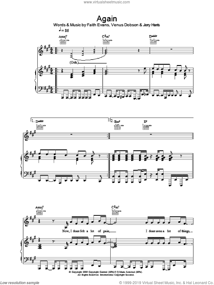 Again sheet music for voice, piano or guitar by Faith Evans, Jerry Harris and Venus Dobson, intermediate skill level