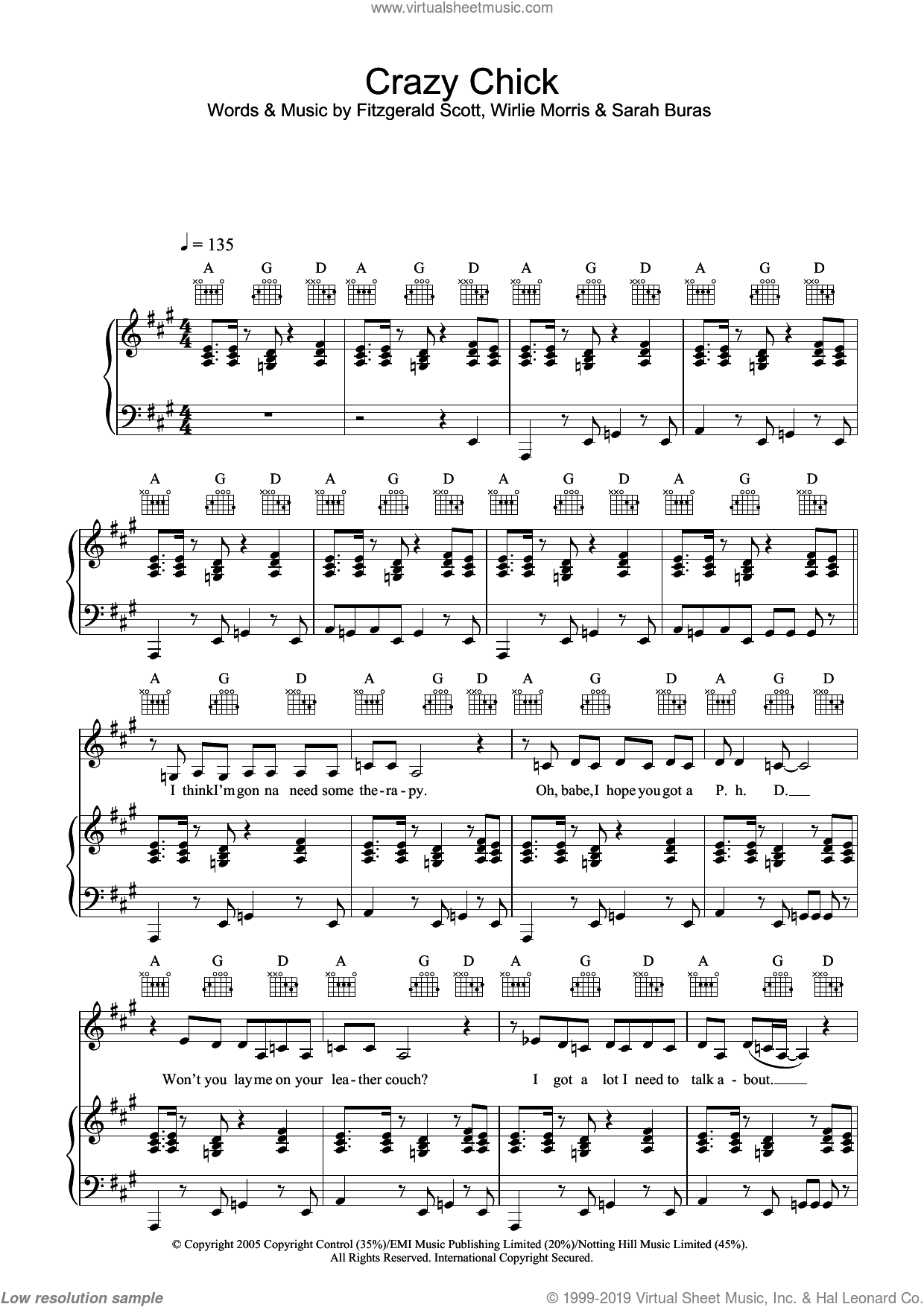 Crazy Chick sheet music for voice, piano or guitar by Wirlie Morris