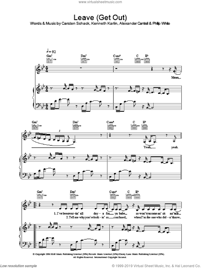 Leave (Get Out) sheet music for voice, piano or guitar by JoJo. Score Image Preview.