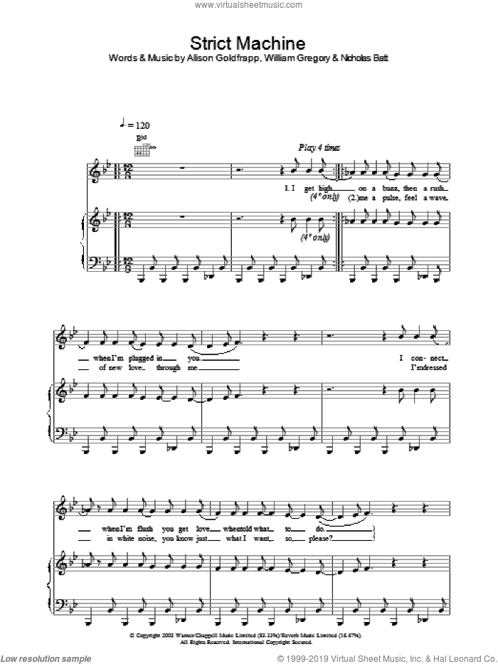 Strict Machine sheet music for voice, piano or guitar by William Gregory. Score Image Preview.