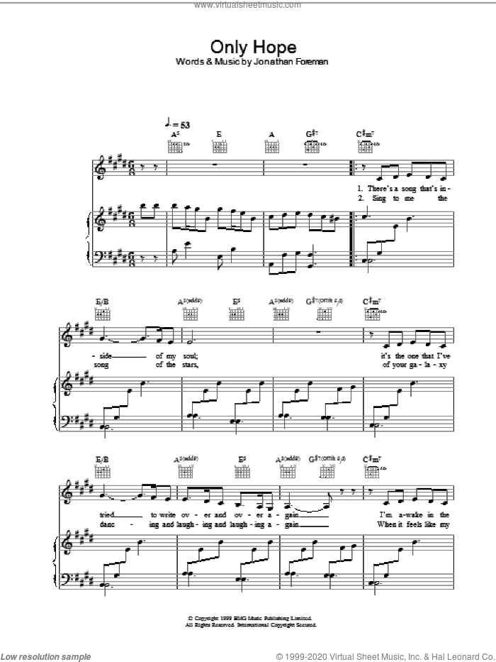 Only Hope sheet music for voice, piano or guitar by Jonathan Foreman