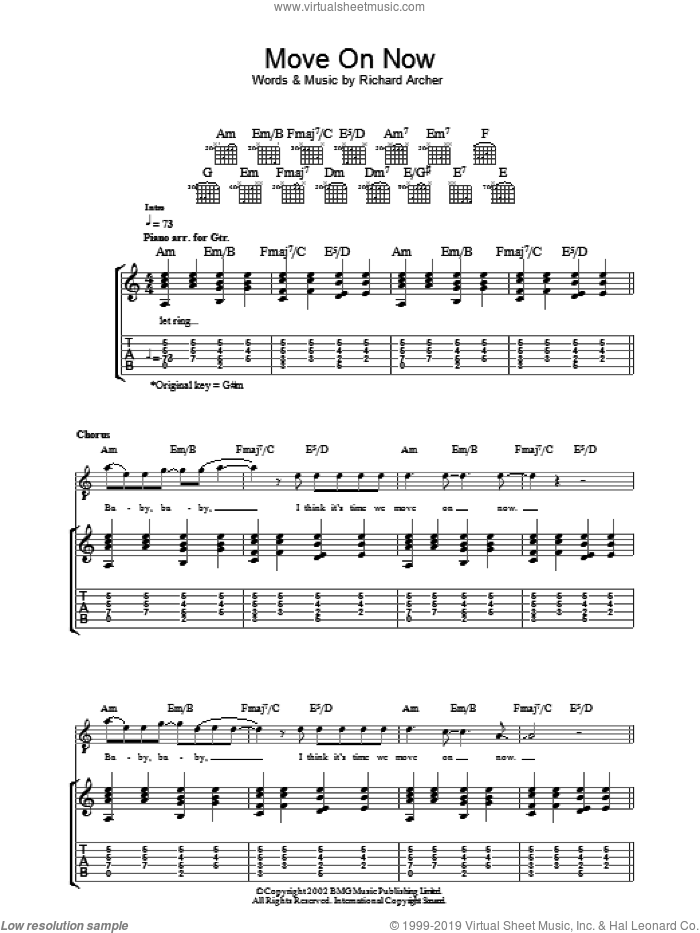 Move On Now sheet music for guitar (tablature) by Hard-Fi, intermediate. Score Image Preview.