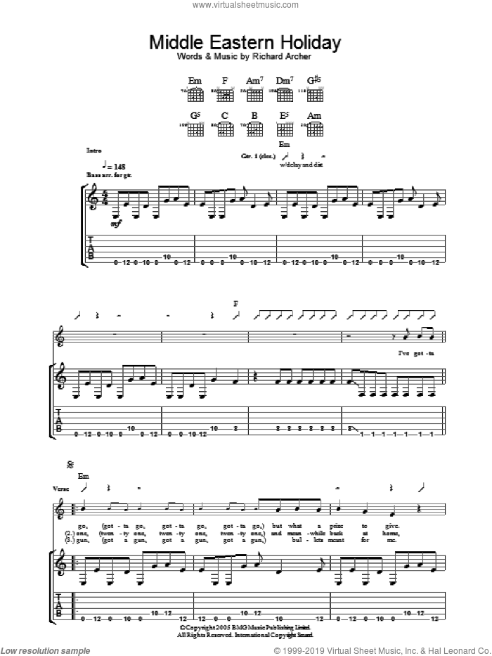 Middle Eastern Holiday sheet music for guitar (tablature) by Richard Archer. Score Image Preview.