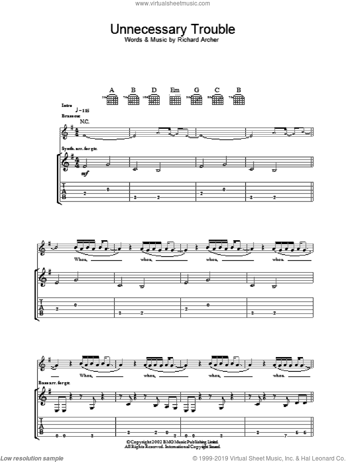 Unnecessary Trouble sheet music for guitar (tablature) by Richard Archer