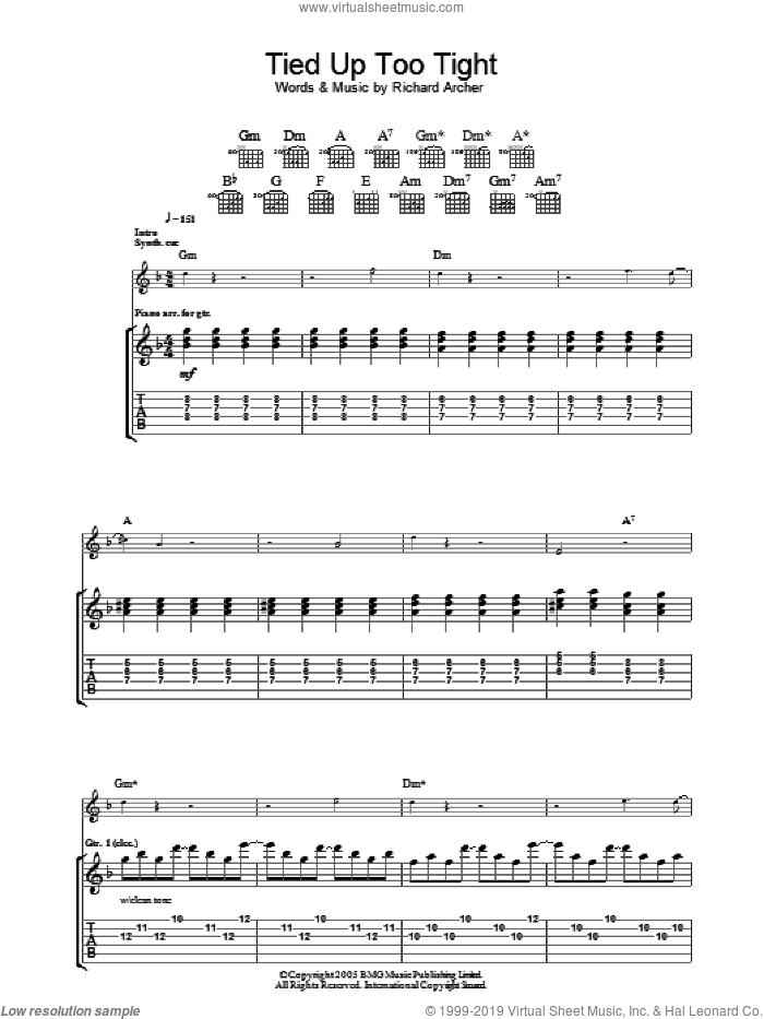 Tied Up Too Tight sheet music for guitar (tablature) by Hard-Fi. Score Image Preview.