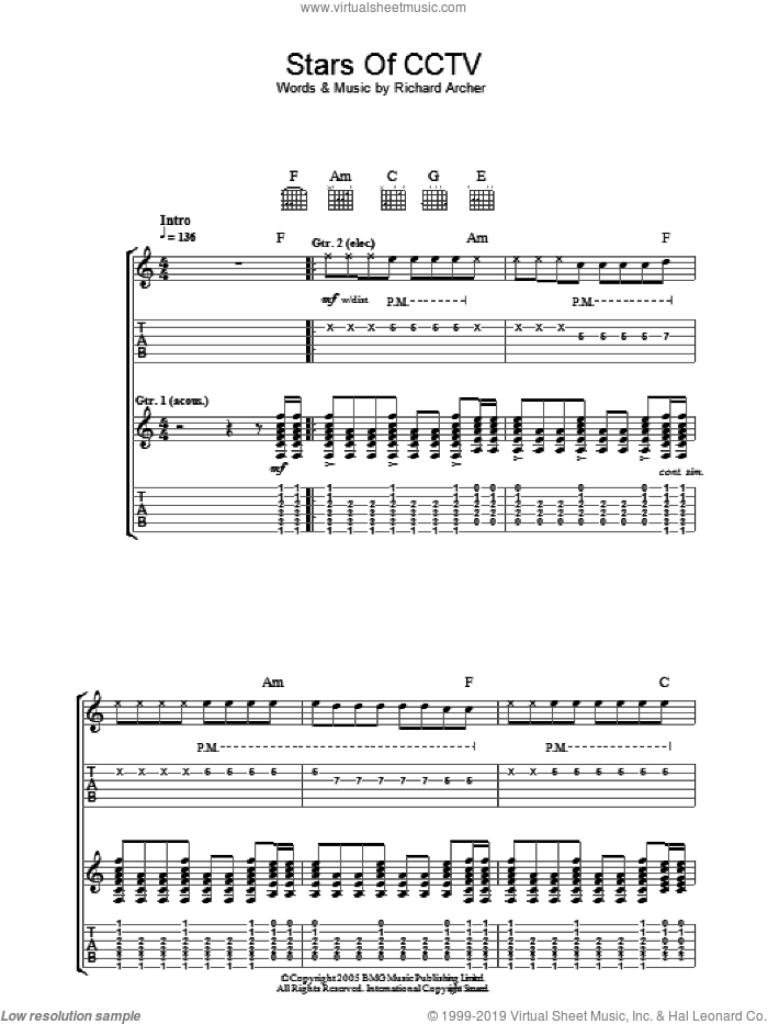 Stars Of CCTV sheet music for guitar (tablature) by Richard Archer. Score Image Preview.