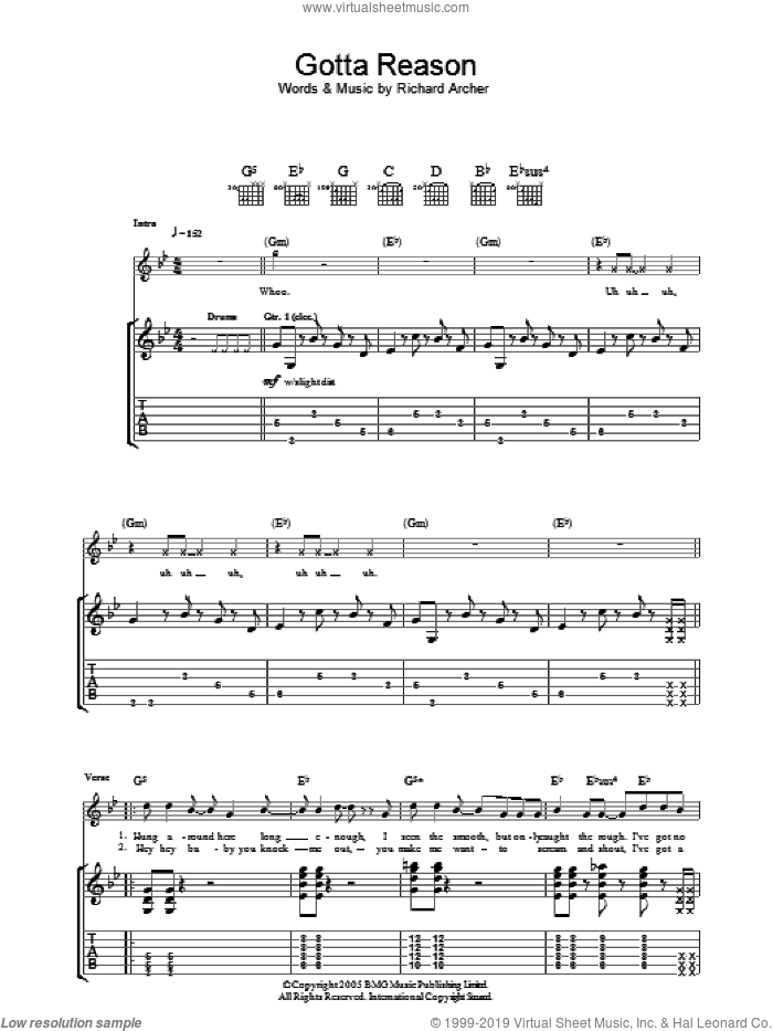 Gotta Reason sheet music for guitar (tablature) by Richard Archer. Score Image Preview.