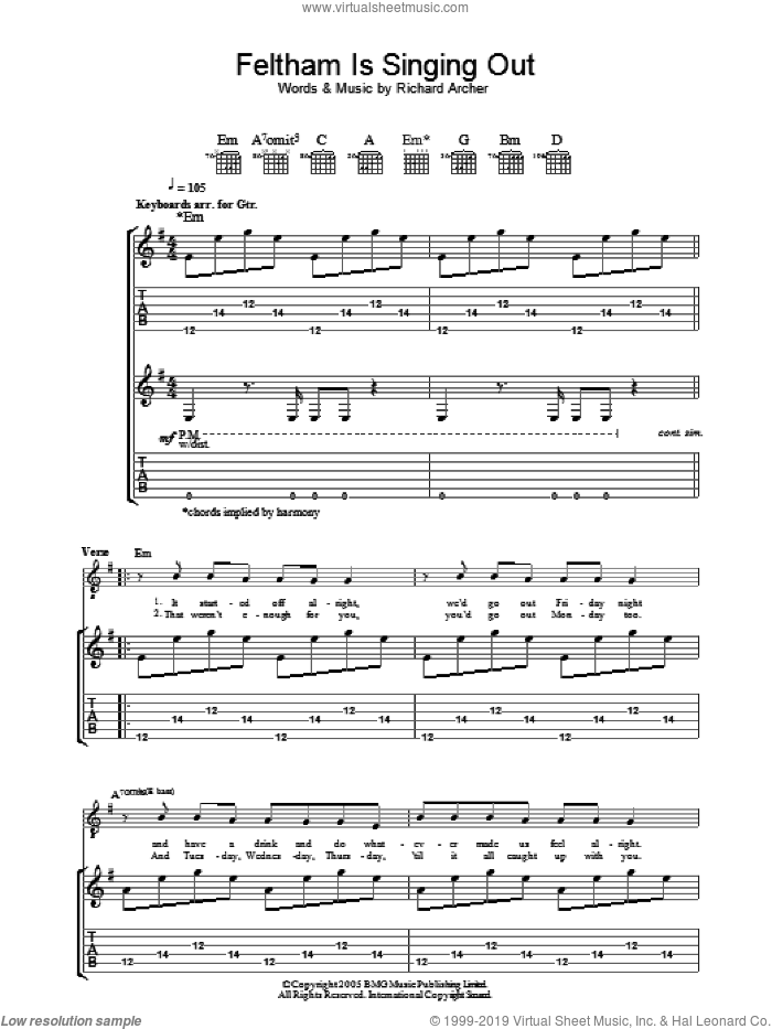 Feltham Is Singing Out sheet music for guitar (tablature) by Richard Archer. Score Image Preview.
