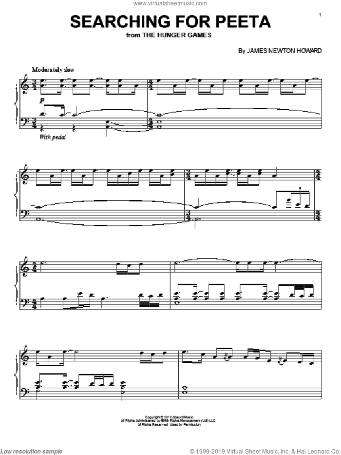 Searching For Peeta sheet music for piano solo by James Newton Howard. Score Image Preview.