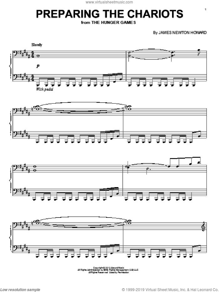 Preparing The Chariots sheet music for piano solo by James Newton Howard, intermediate skill level