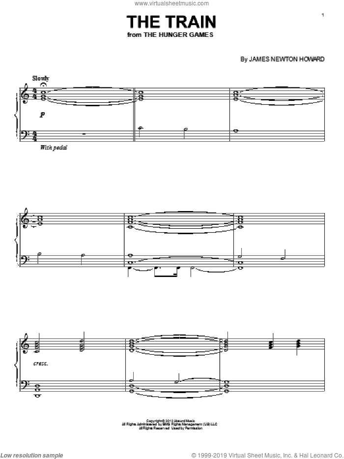 The Train sheet music for piano solo by James Newton Howard, intermediate skill level