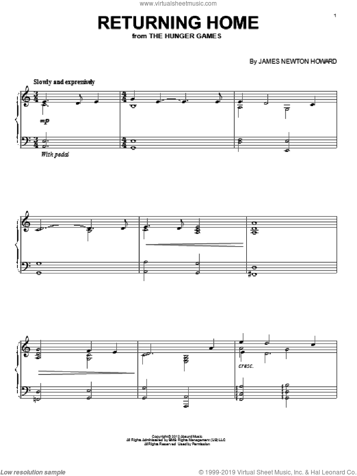 Returning Home sheet music for piano solo by James Newton Howard, intermediate. Score Image Preview.
