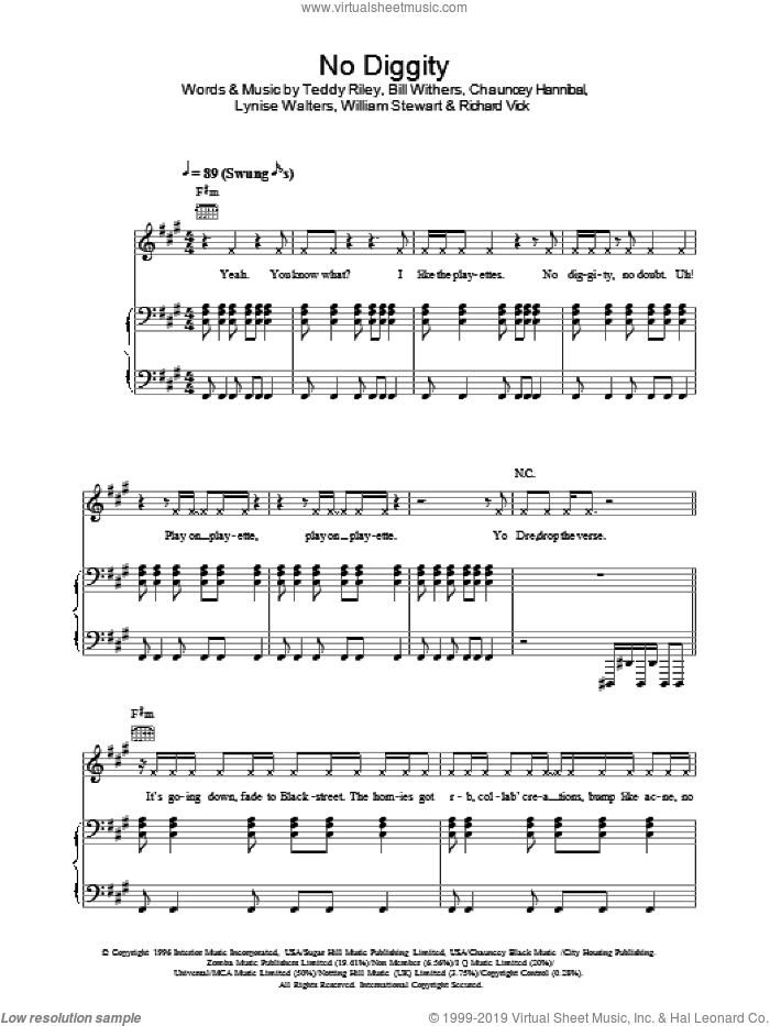 No Diggity sheet music for voice, piano or guitar by William Stewart, Bill Withers and Teddy Riley. Score Image Preview.
