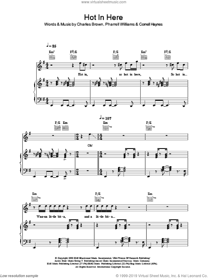 Hot In Here sheet music for voice, piano or guitar by Nelly, Charles Brown and Pharrell Williams