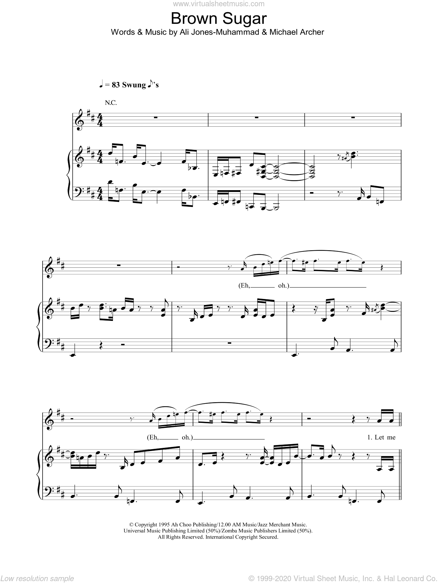 Brown Sugar sheet music for voice, piano or guitar by Michael Archer and Ali Jones-Muhammad