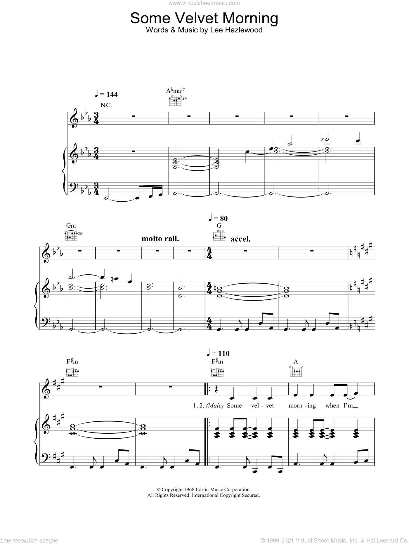 Some Velvet Morning sheet music for voice, piano or guitar by Nancy Sinatra and Lee Hazlewood, intermediate. Score Image Preview.